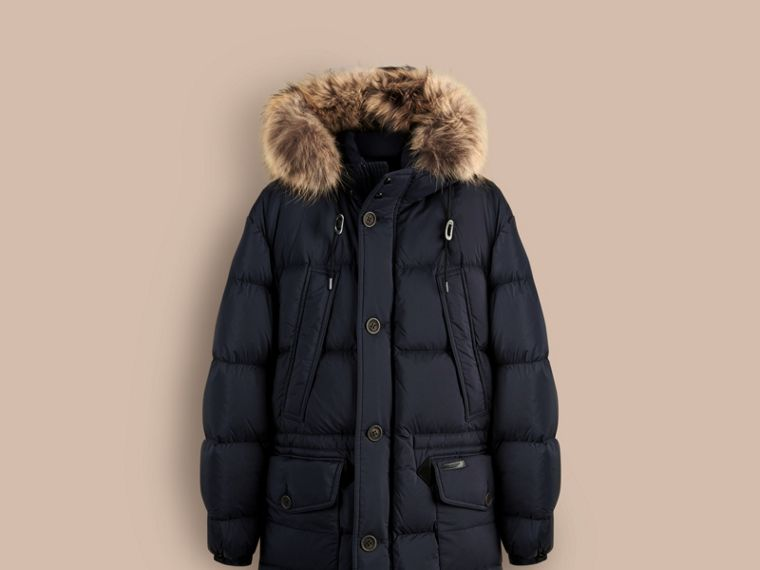 Navy Fur Trim Down-Filled Parka - cell image 2