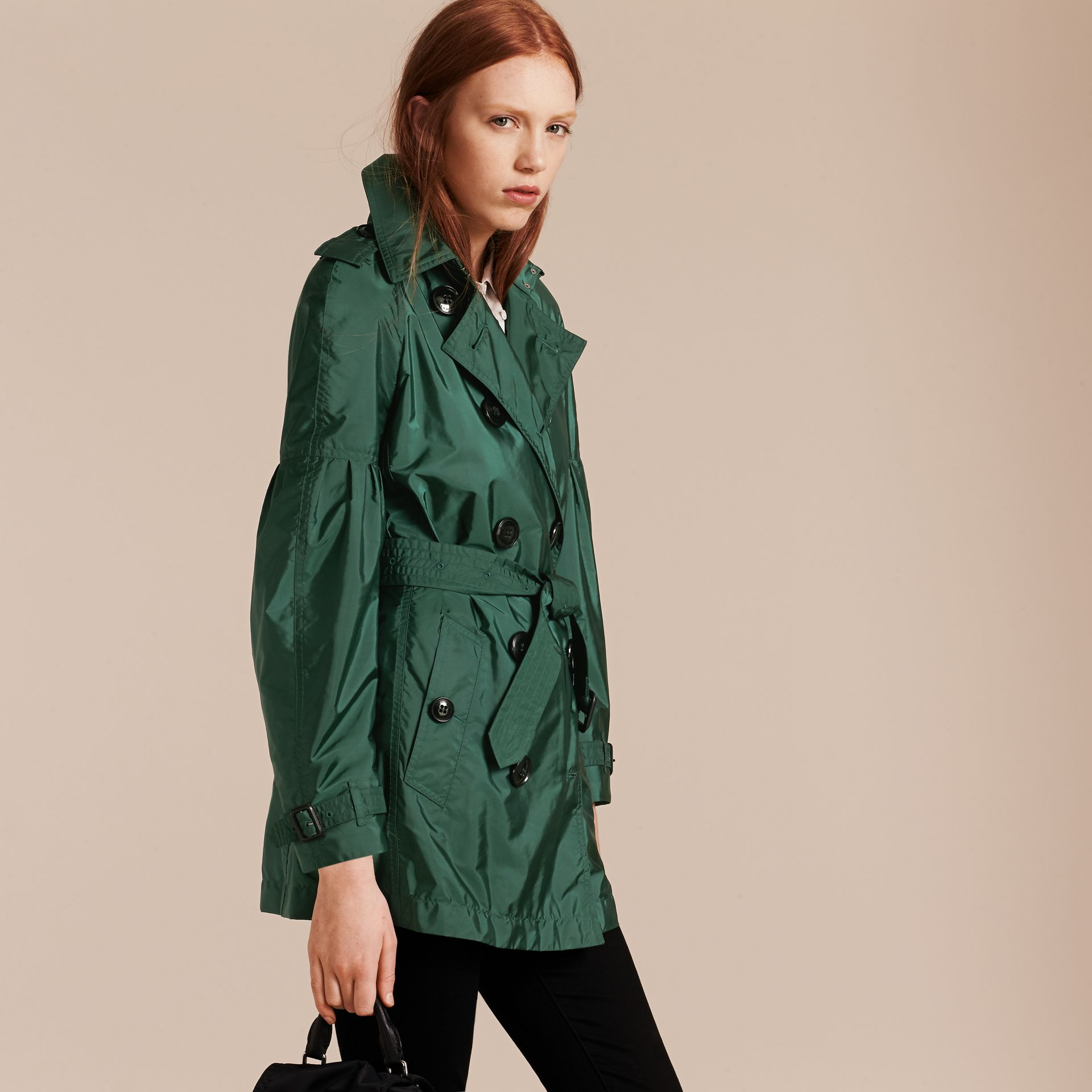 Packaway Trench Coat with Bell Sleeves in Deep Bottle Green - gallery image 7