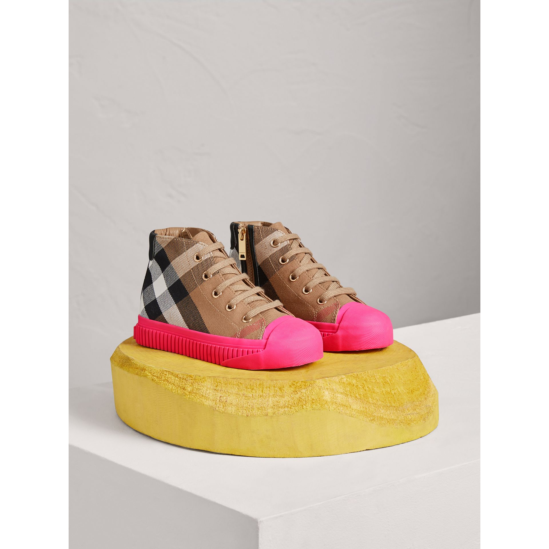 House Check and Leather High-top Sneakers in Classic/neon Pink | Burberry United Kingdom - gallery image 0