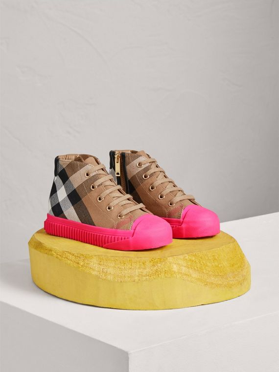 House Check and Leather High-top Sneakers in Classic/neon Pink