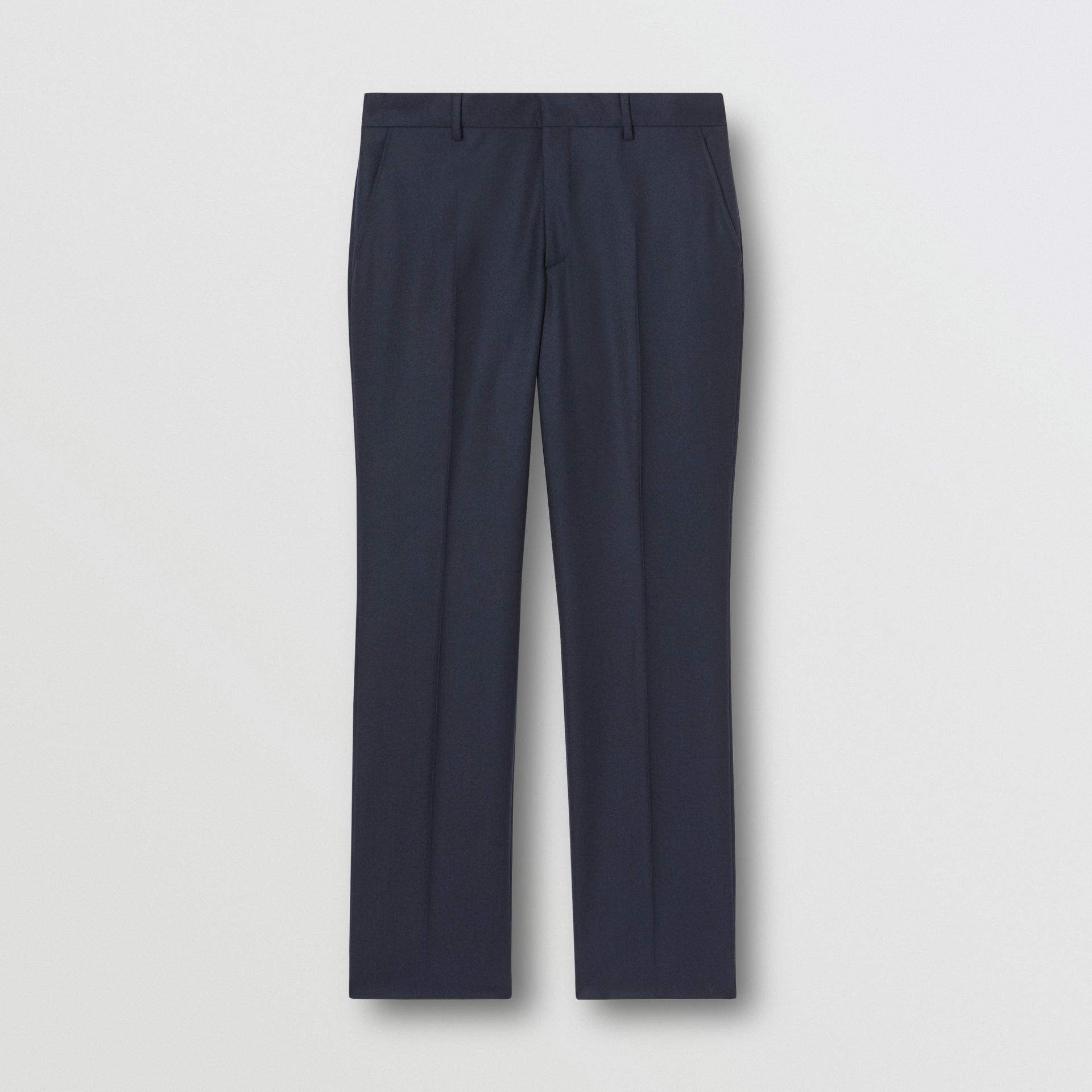 Classic Fit Wool Flannel Tailored Trousers in Navy - Men | Burberry Hong Kong S.A.R - gallery image 3
