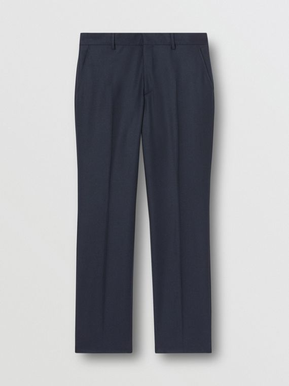 Classic Fit Wool Flannel Tailored Trousers in Navy