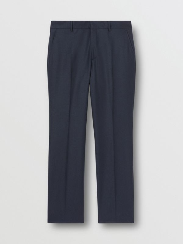 Classic Fit Wool Flannel Tailored Trousers in Navy - Men | Burberry Hong Kong S.A.R - cell image 3