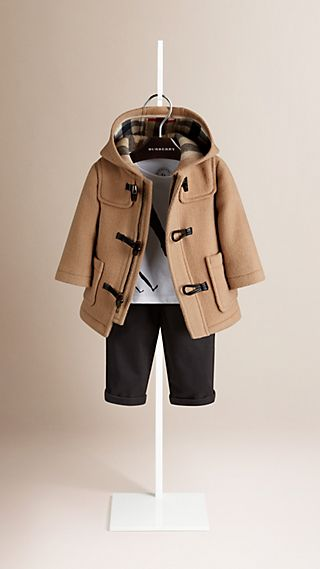 Check Detail Wool Duffle Coat