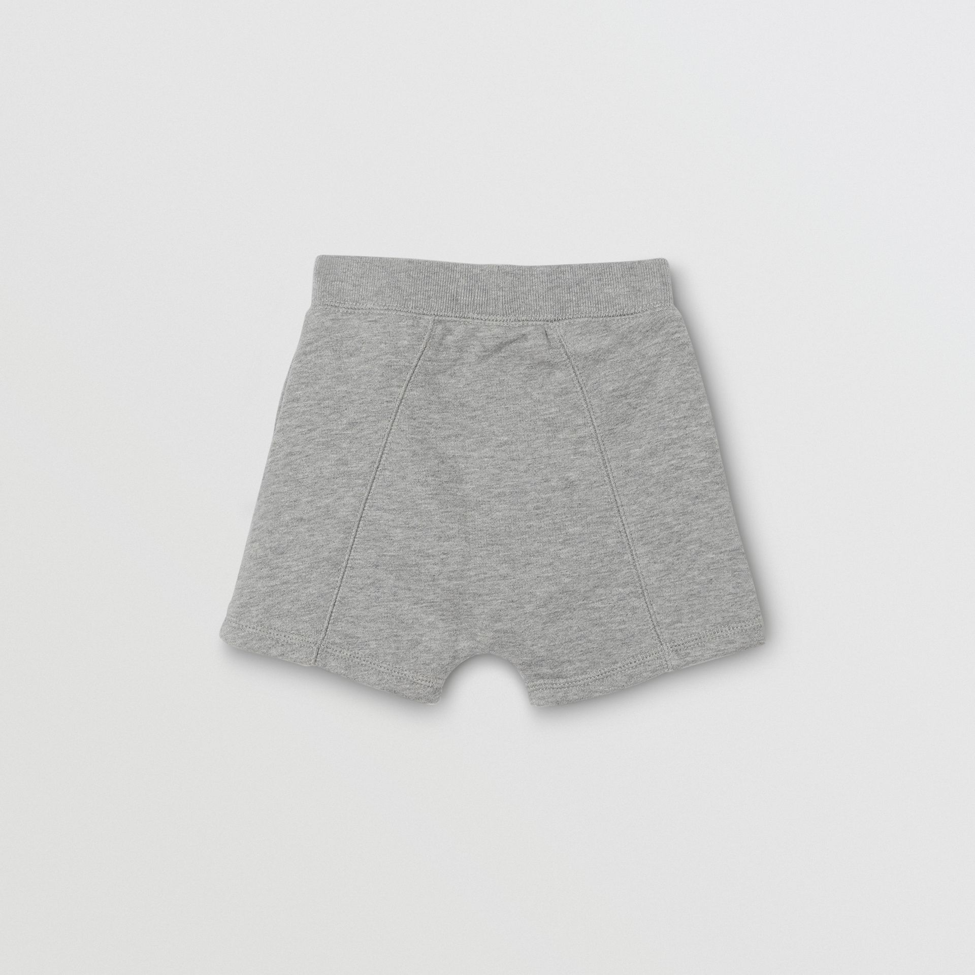 Logo Detail Cotton Drawcord Shorts in Grey Melange - Children | Burberry Australia - gallery image 3