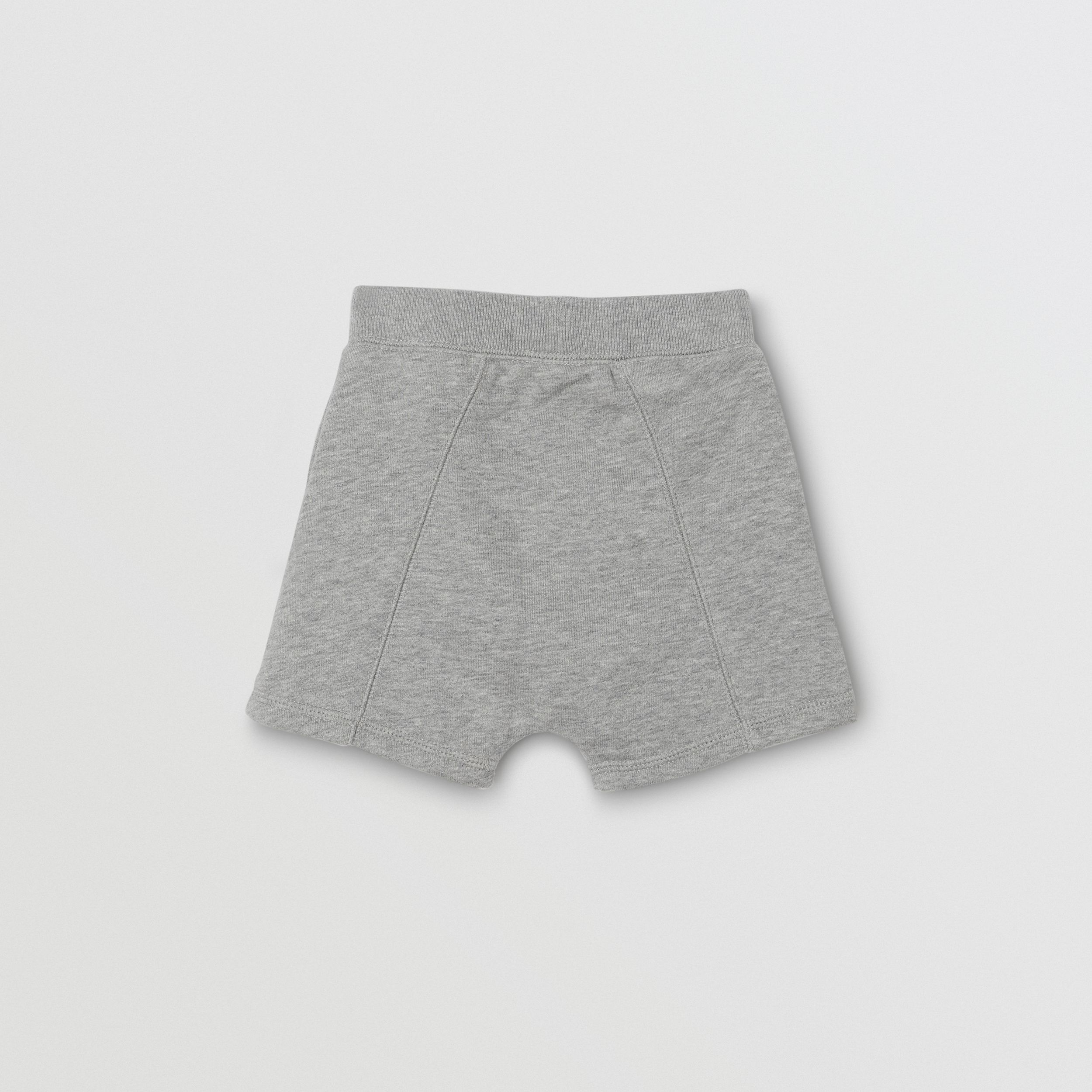Logo Detail Cotton Drawcord Shorts in Grey Melange | Burberry Australia - 4