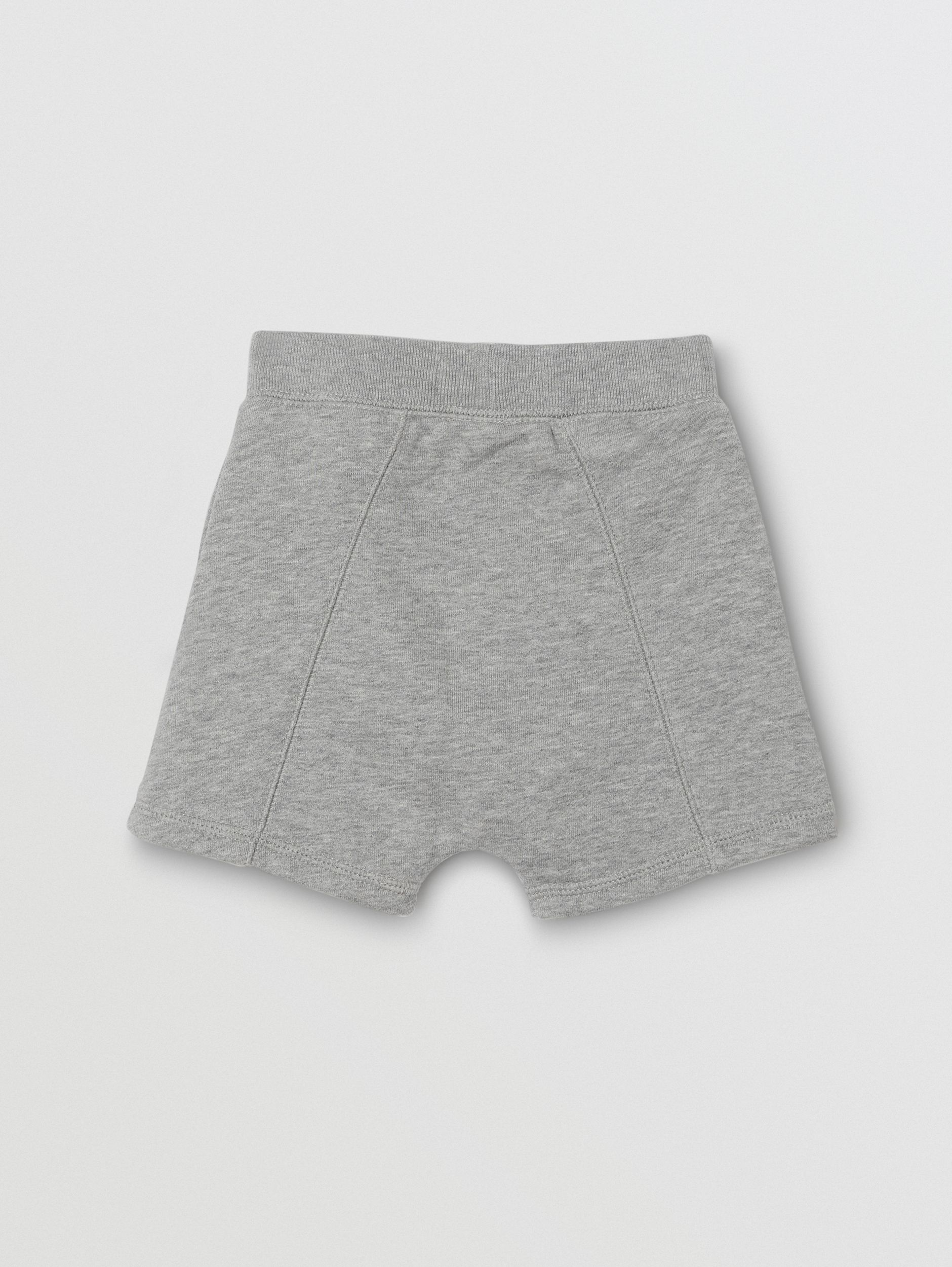 Logo Detail Cotton Drawcord Shorts in Grey Melange - Children | Burberry - 4