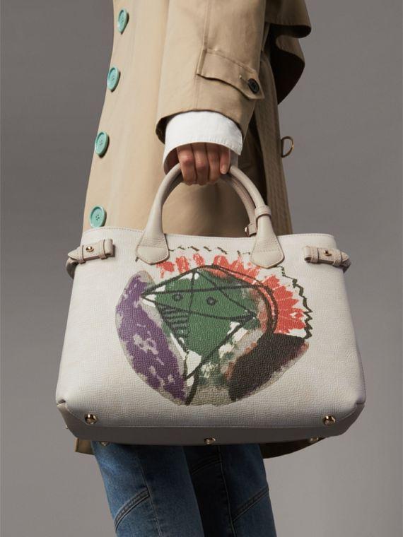 The Medium Banner in Pallas Heads Motif Leather in Limestone - Women | Burberry - cell image 3