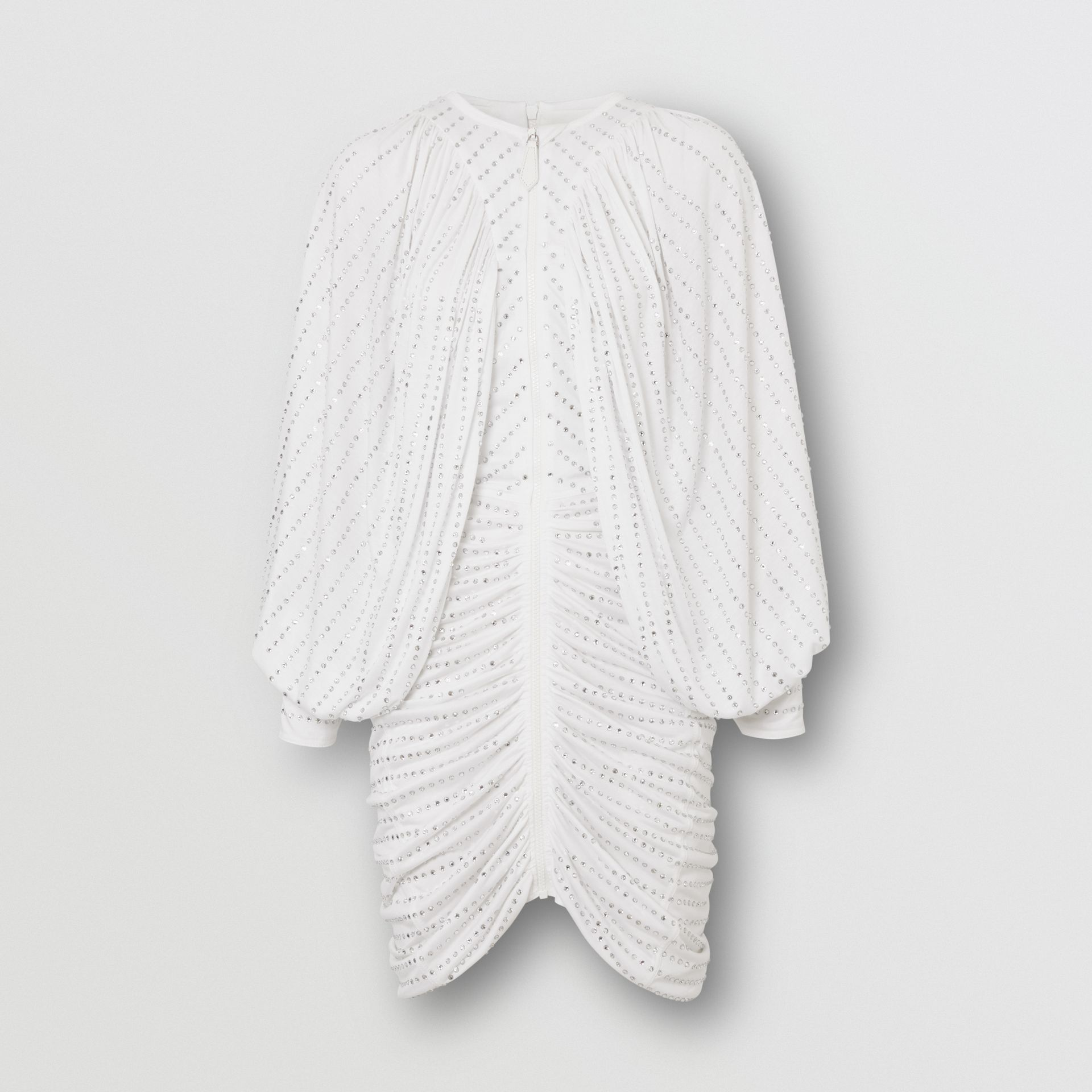 Crystal Pinstriped Ruched Jersey Dress in Optic White - Women | Burberry Canada - gallery image 3
