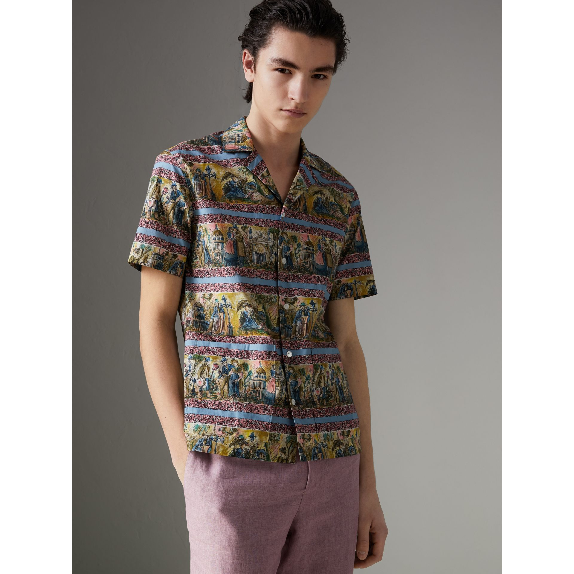 Short-sleeve Figurative Print Shirt in Turquoise Green - Men | Burberry - gallery image 1