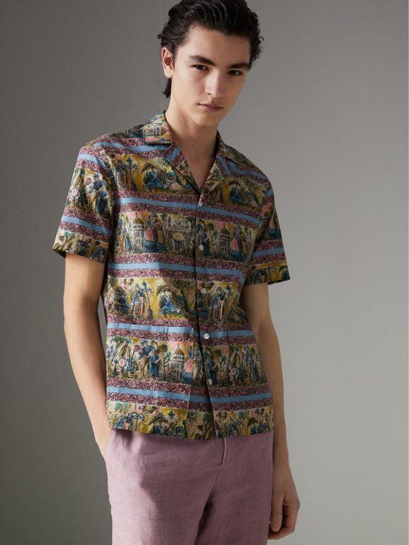 Short-sleeve Figurative Print Shirt in Turquoise Green - Men | Burberry - cell image 1