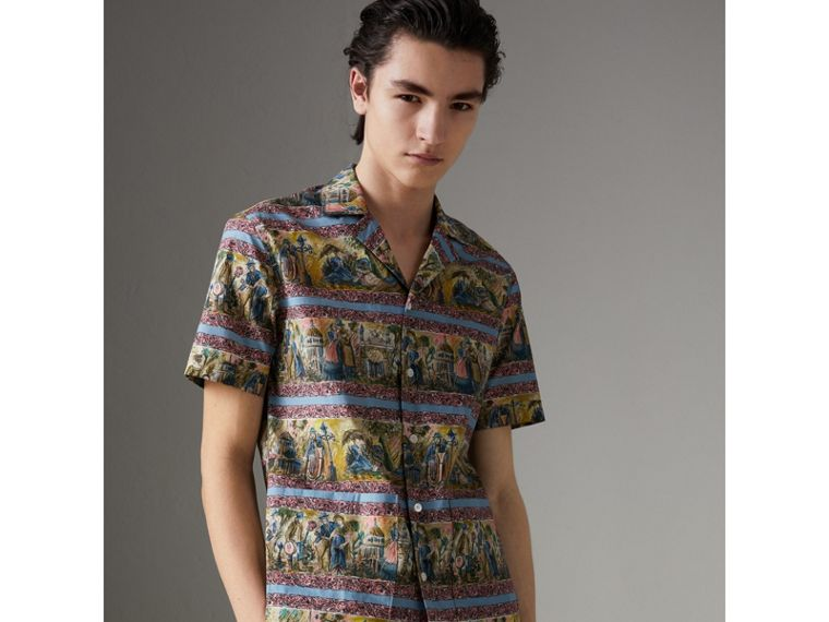 Short-sleeve Figurative Print Shirt in Turquoise Green - Men | Burberry United Kingdom - cell image 1