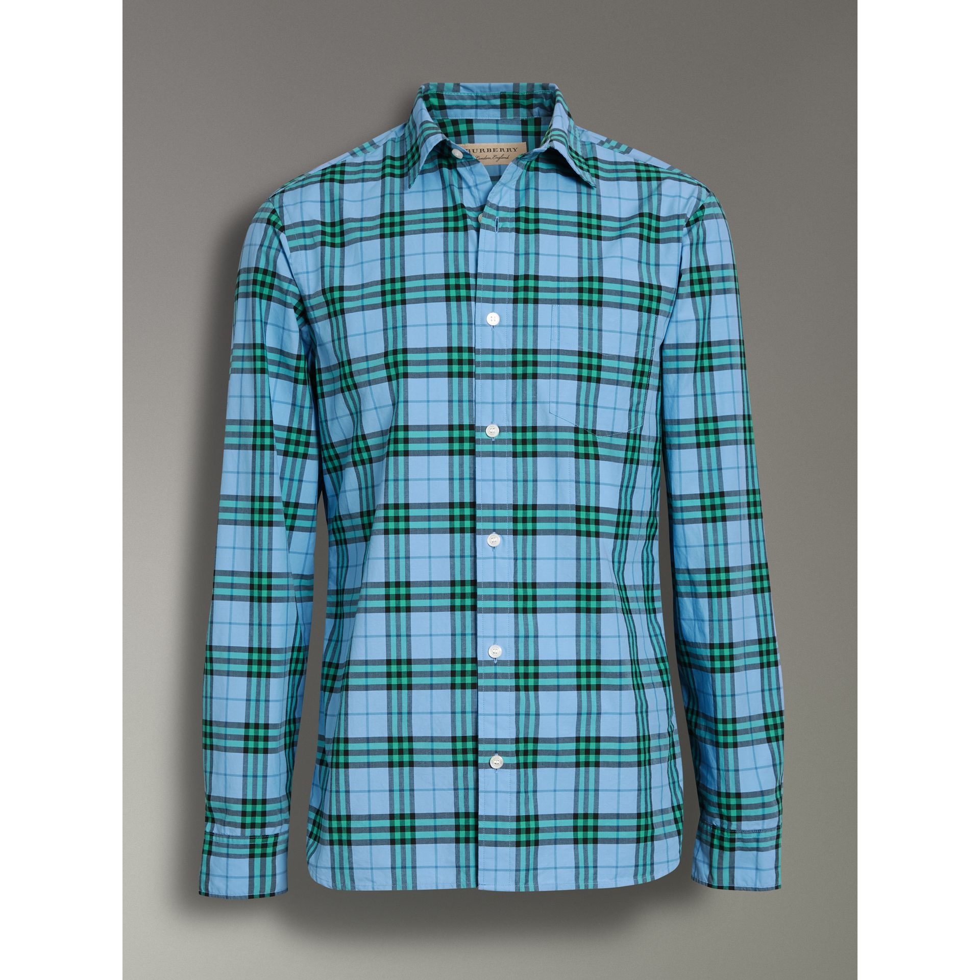 Check Cotton Shirt in Blue Topaz - Men | Burberry United Kingdom - gallery image 3