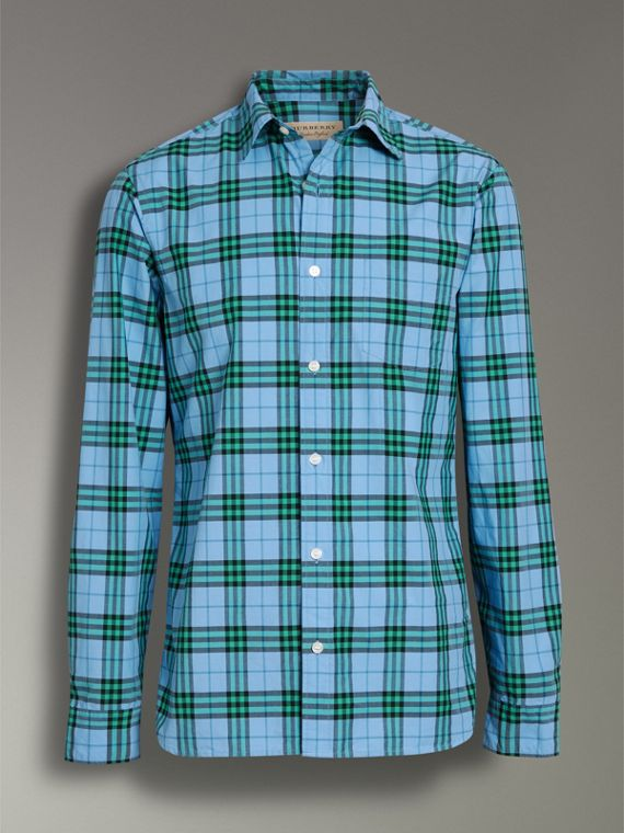 Check Cotton Shirt in Blue Topaz - Men | Burberry - cell image 3
