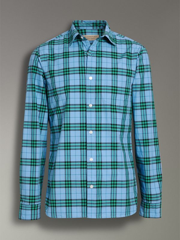 Check Cotton Shirt in Blue Topaz - Men | Burberry Australia - cell image 3