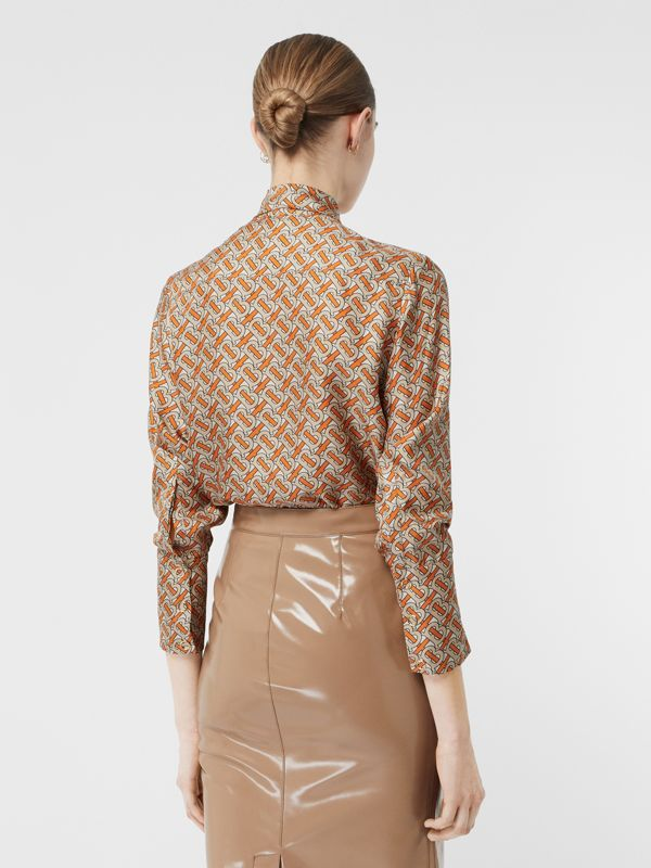 Monogram Print Silk Pussy-bow Blouse in Bright Orange - Women | Burberry United Kingdom - cell image 2