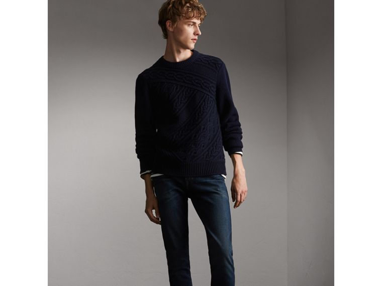 Cashmere Sweater with Cable Knit Detail - Men | Burberry - cell image 4