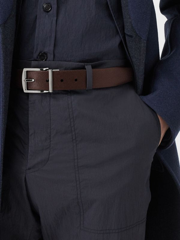 Reversible Grainy Leather Belt in Chocolate/black - Men | Burberry Singapore - cell image 2