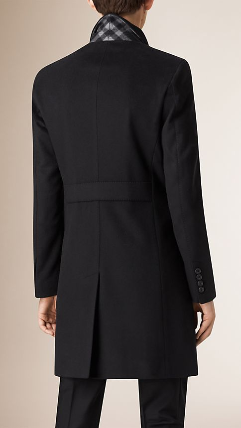 Black Wool Cashmere Peak Lapel Topcoat - Image 5