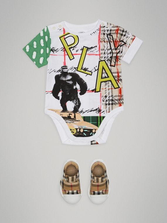 Play Graphic Print Cotton Bodysuit in White