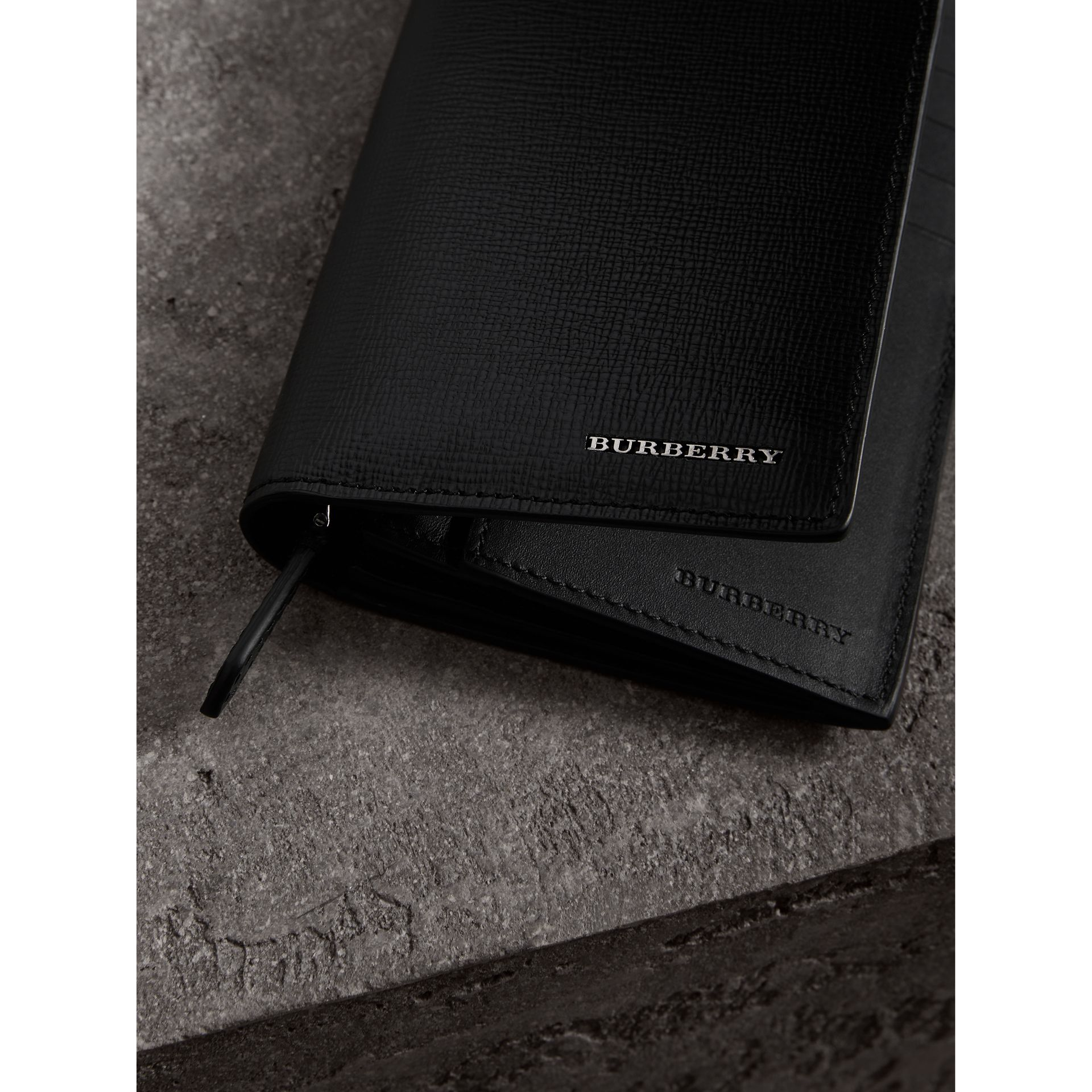 London Leather Continental Wallet in Black | Burberry - gallery image 1
