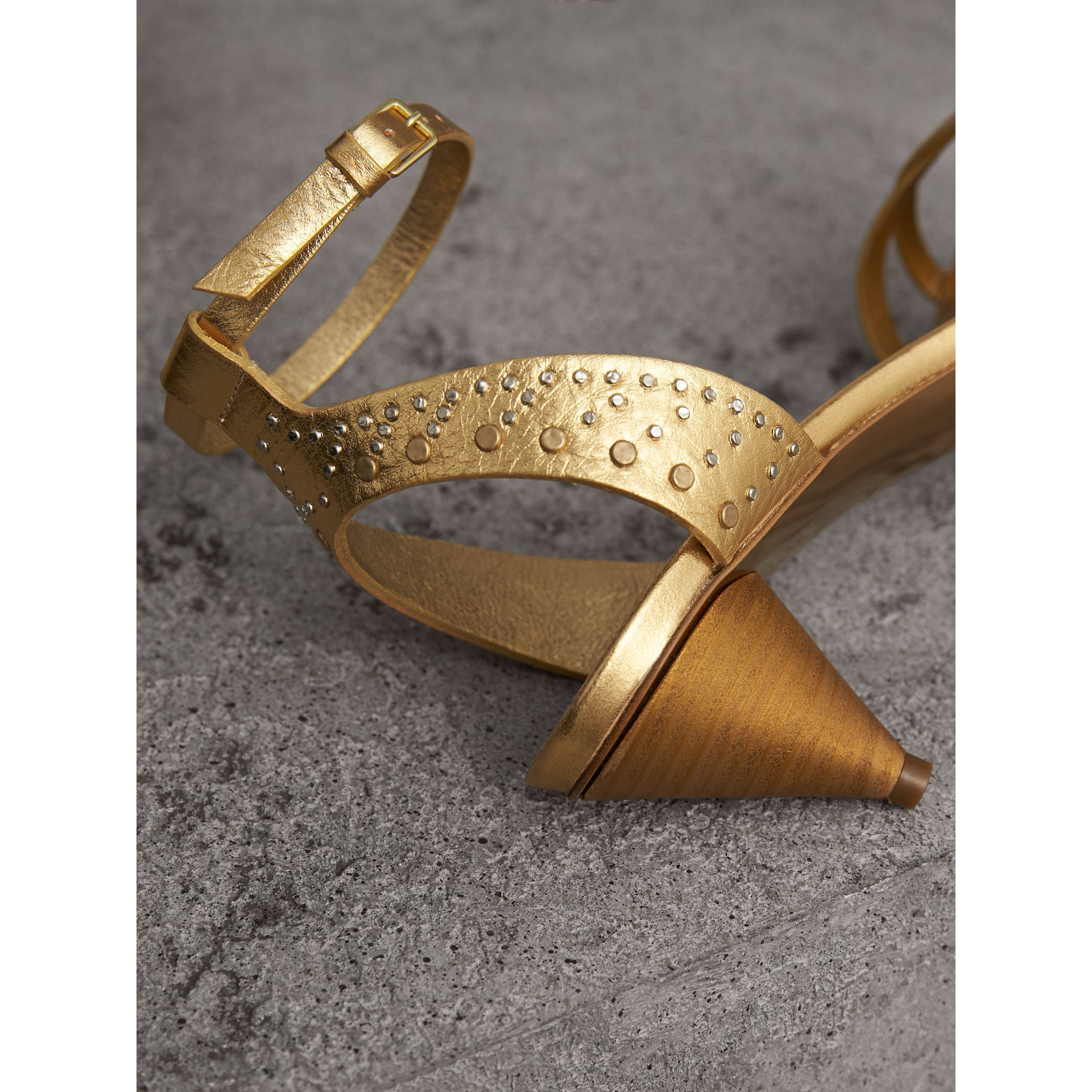 Riveted Metallic Leather Cone-heel Sandals in Gold - Women | Burberry - gallery image 2