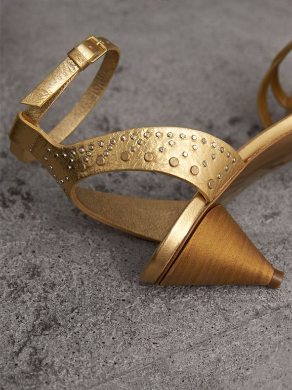 Riveted Metallic Leather Cone-heel Sandals in Gold - Women | Burberry - cell image 1