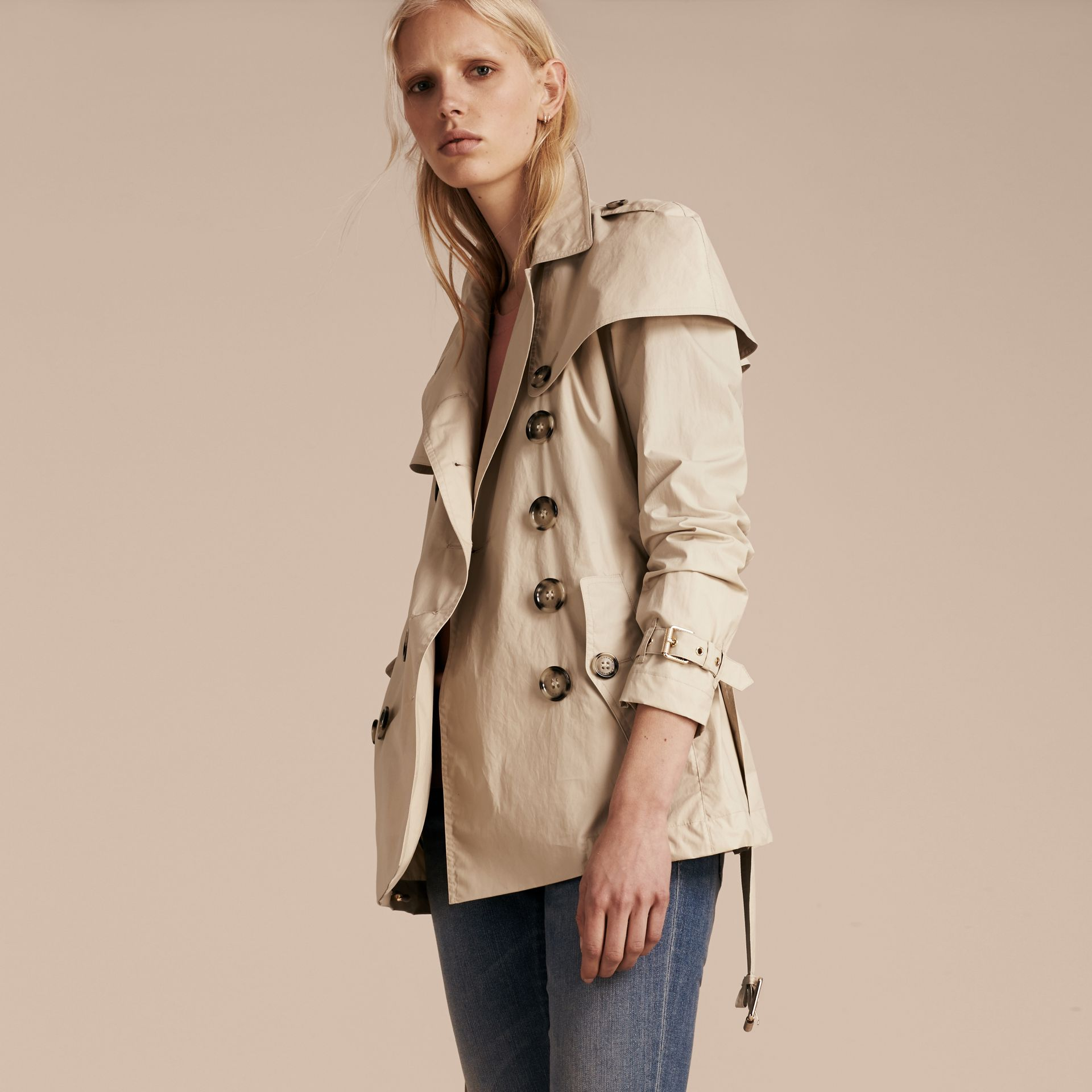 Stone Lightweight Cape Detail Cotton Trench Coat - gallery image 6