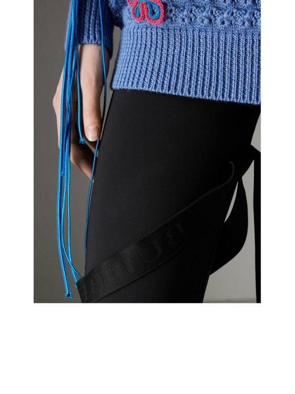 Strap Detail Stretch Jersey Leggings in Black - Women | Burberry - cell image 1