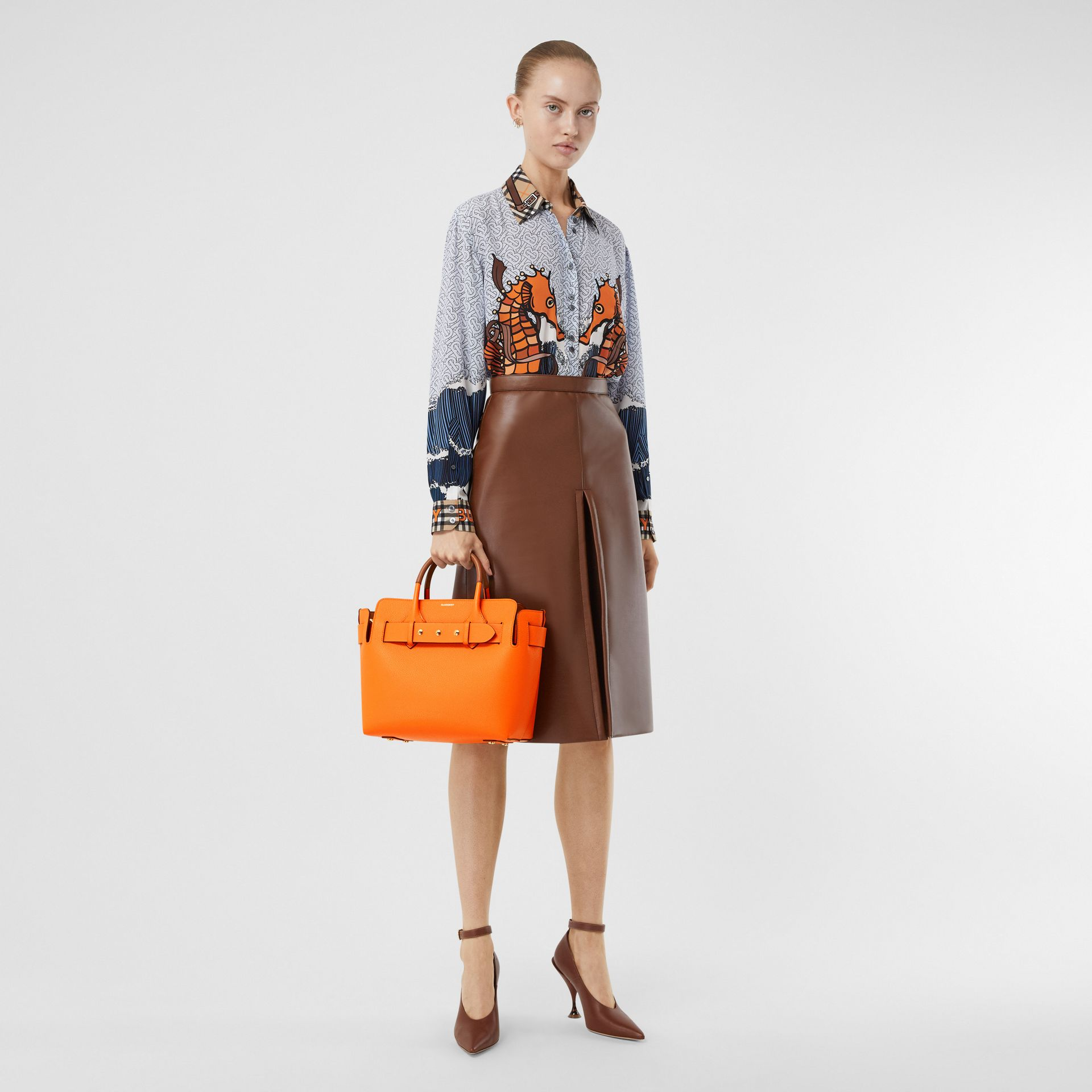 The Small Leather Triple Stud Belt Bag in Bright Orange - Women | Burberry - gallery image 5