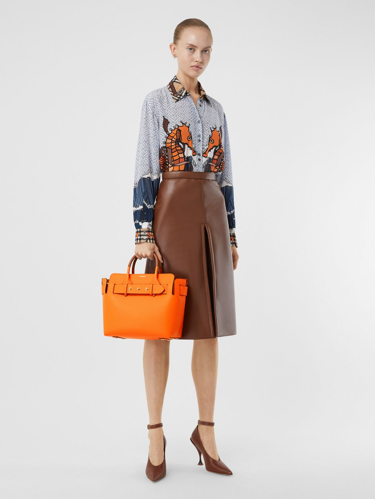 The Small Leather Triple Stud Belt Bag in Bright Orange