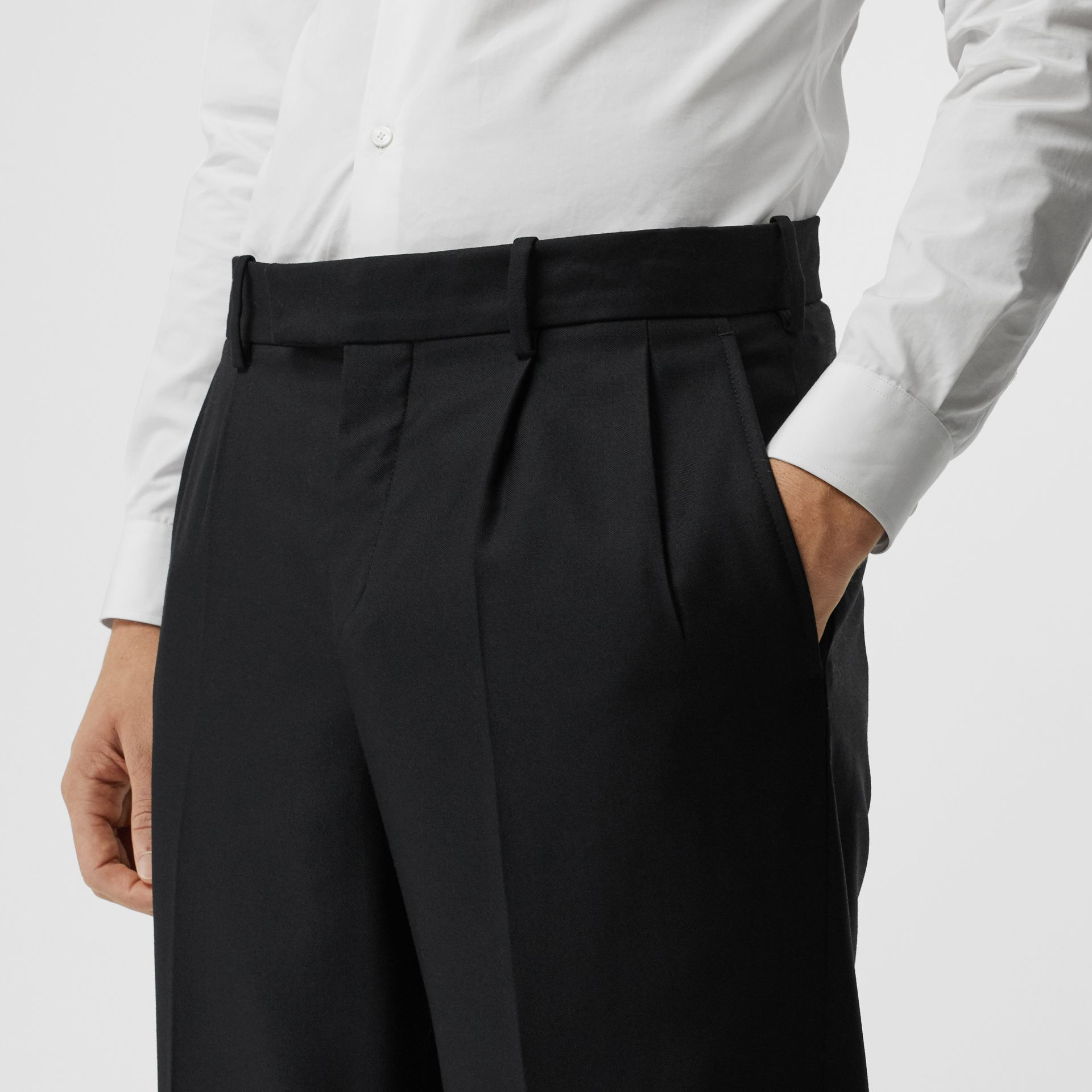 Wool Mohair Wide-leg Tailored Trousers in Black - Men | Burberry United Kingdom - gallery image 1
