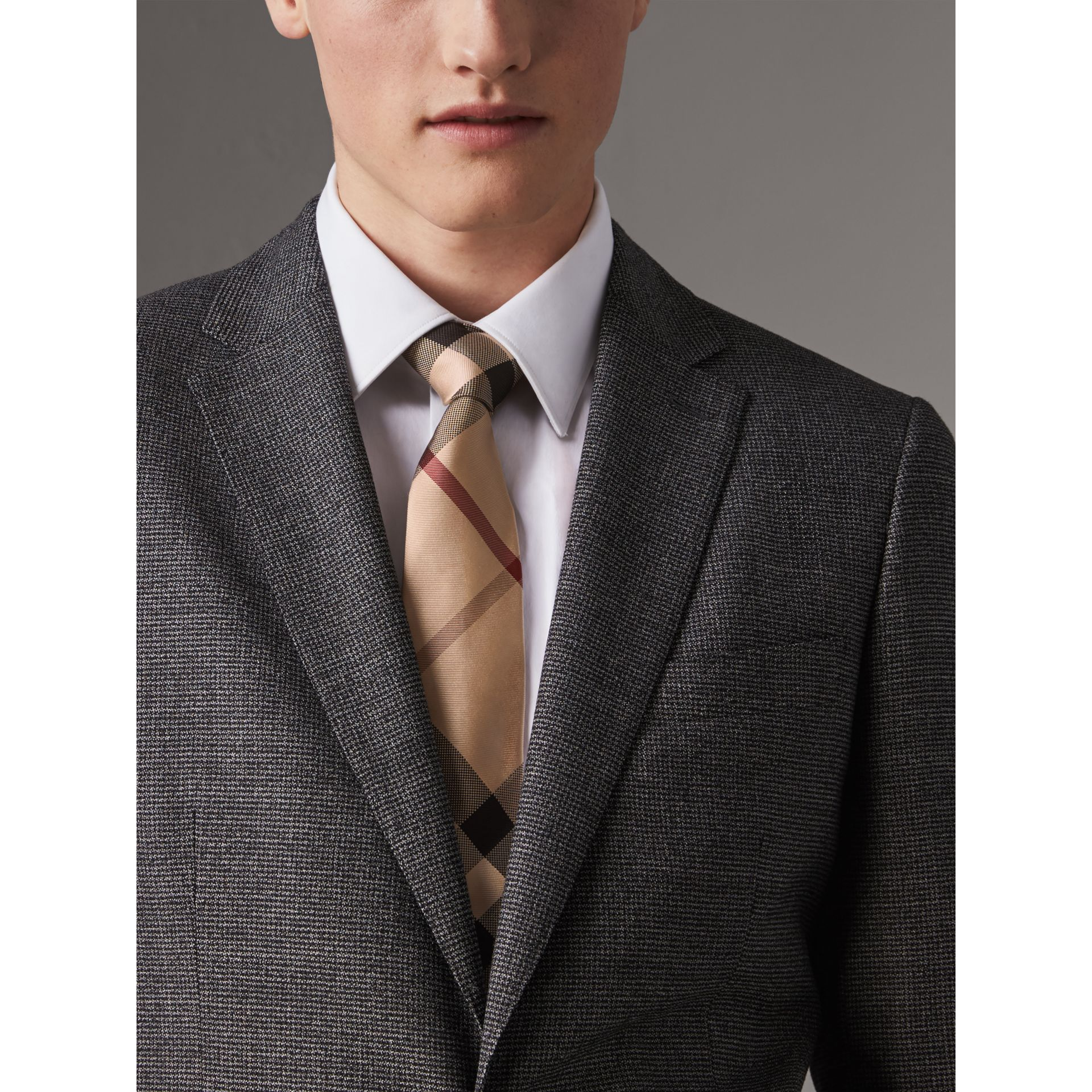 Modern Cut Check Silk Tie in New Classic - Men | Burberry United Kingdom - gallery image 3