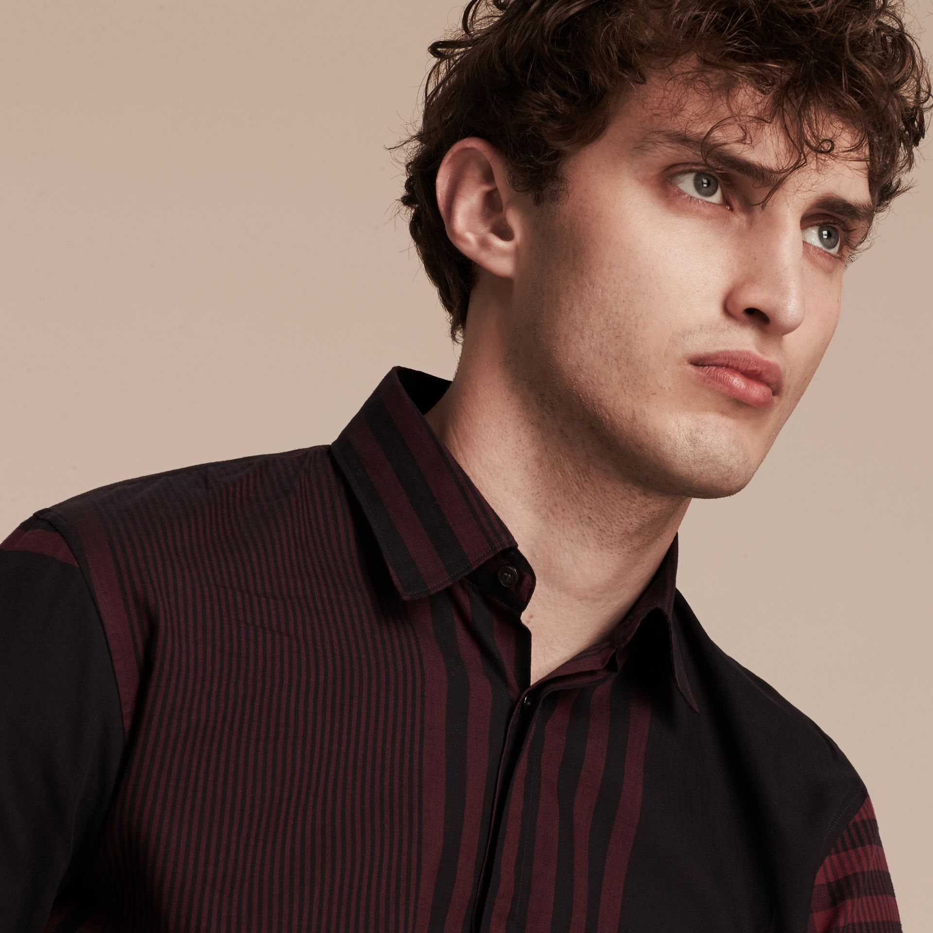 Burgundy red Graphic Check Cotton Shirt Burgundy Red - gallery image 5