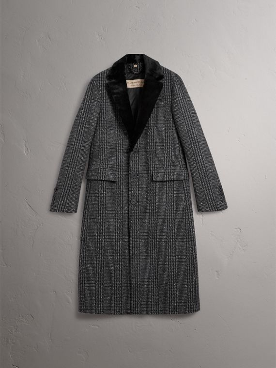 Detachable Mink Collar Check Wool Tailored Coat in Charcoal - Men | Burberry - cell image 3