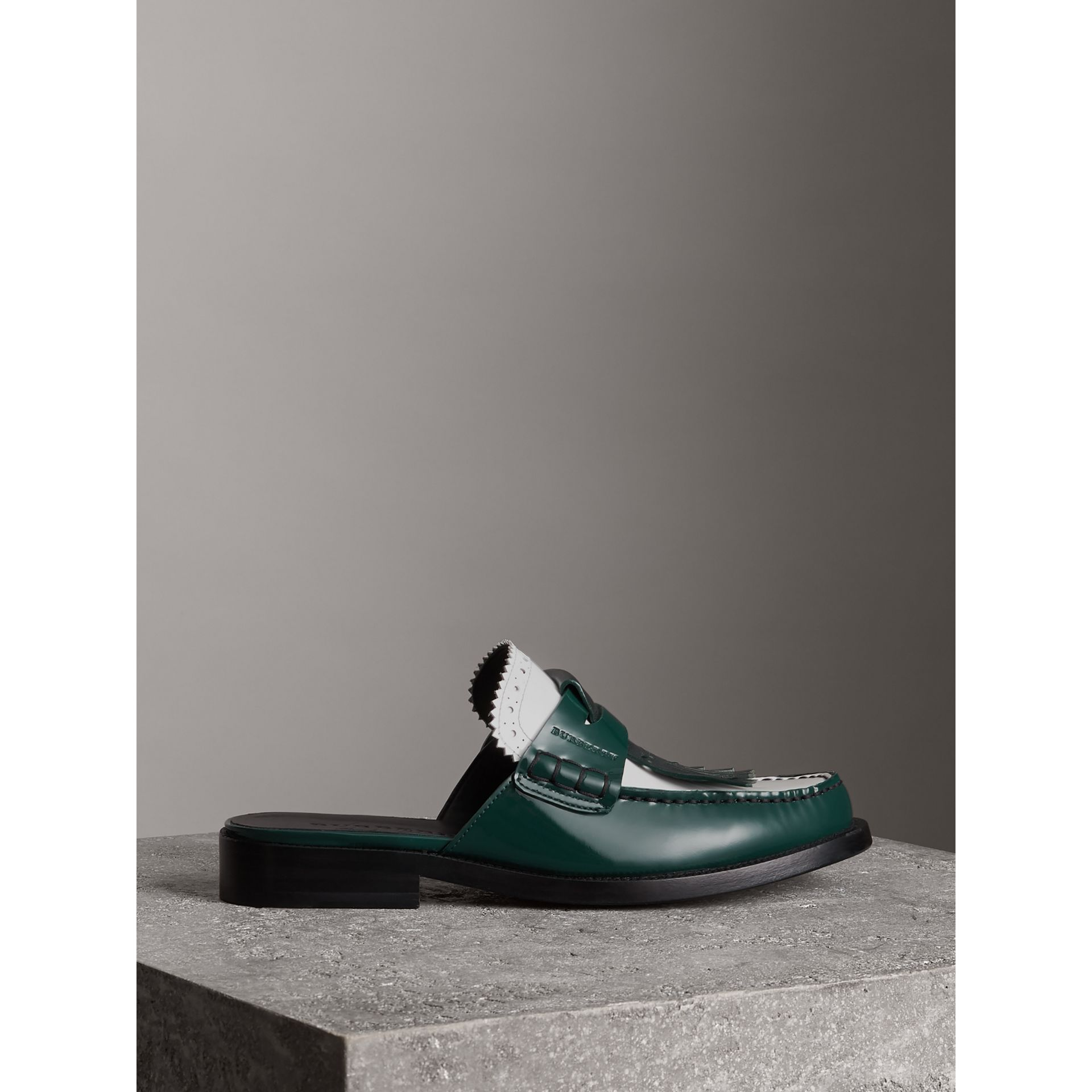 Tri-tone Kiltie Fringe Leather Mules in Dark Forest Green - Women | Burberry - gallery image 4