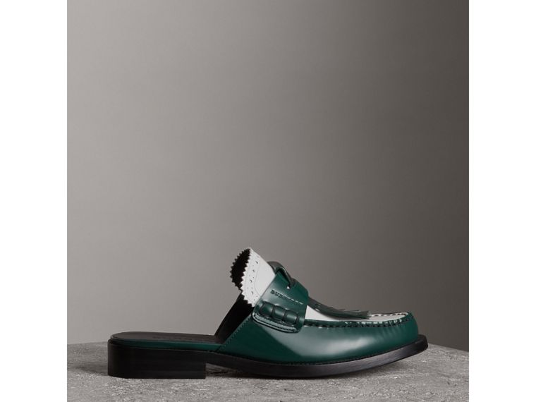 Tri-tone Kiltie Fringe Leather Mules in Dark Forest Green - Women | Burberry - cell image 4