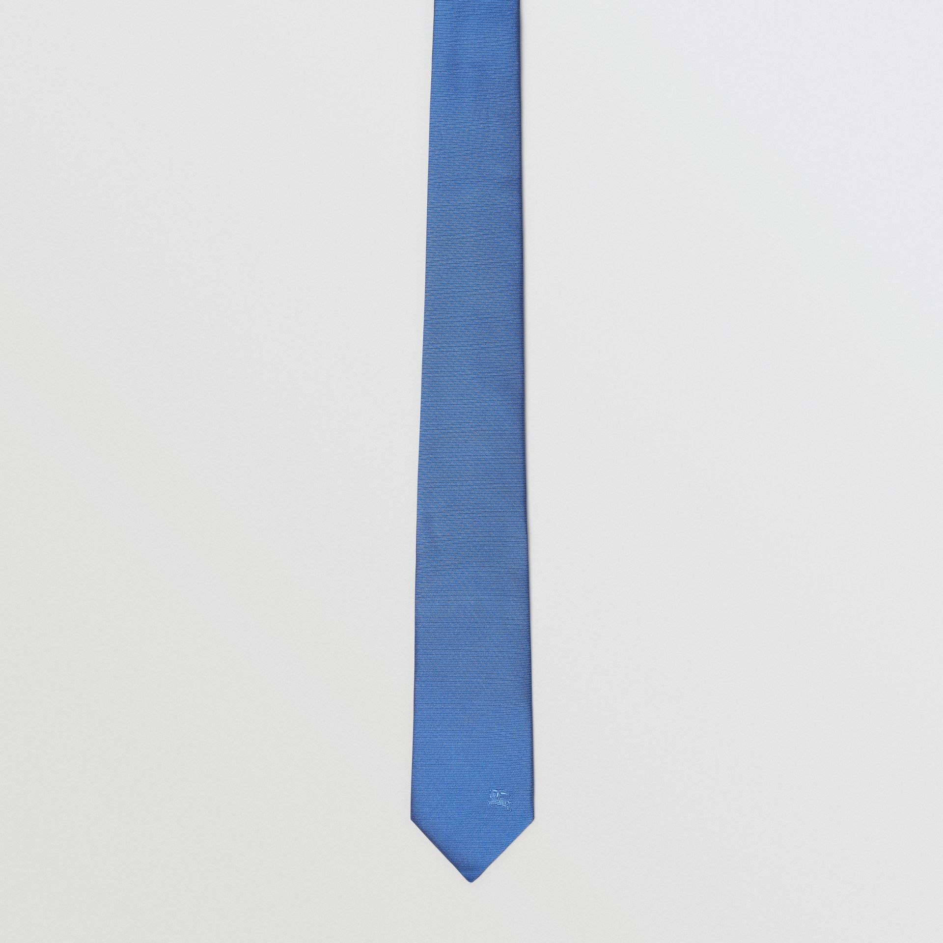 Modern Cut Check Detail Silk Tie in Bright Cobalt - Men | Burberry - gallery image 4