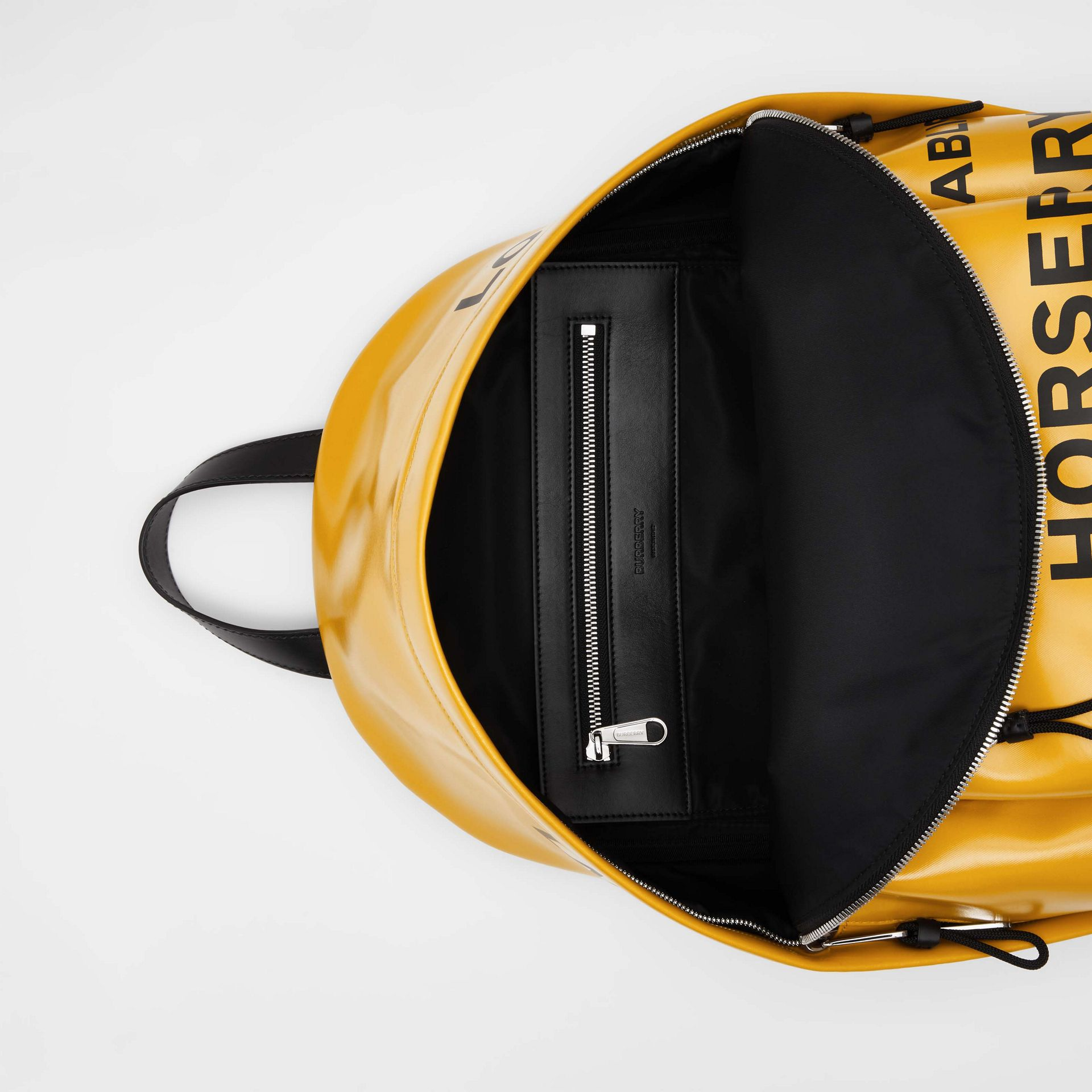 Horseferry Print Coated Canvas Backpack in Yellow | Burberry - gallery image 4