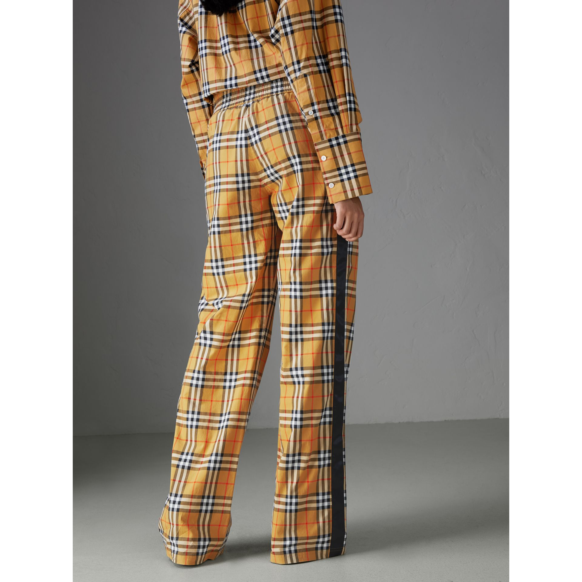 Vintage Check Drawcord Trousers in Antique Yellow - Women | Burberry - gallery image 1