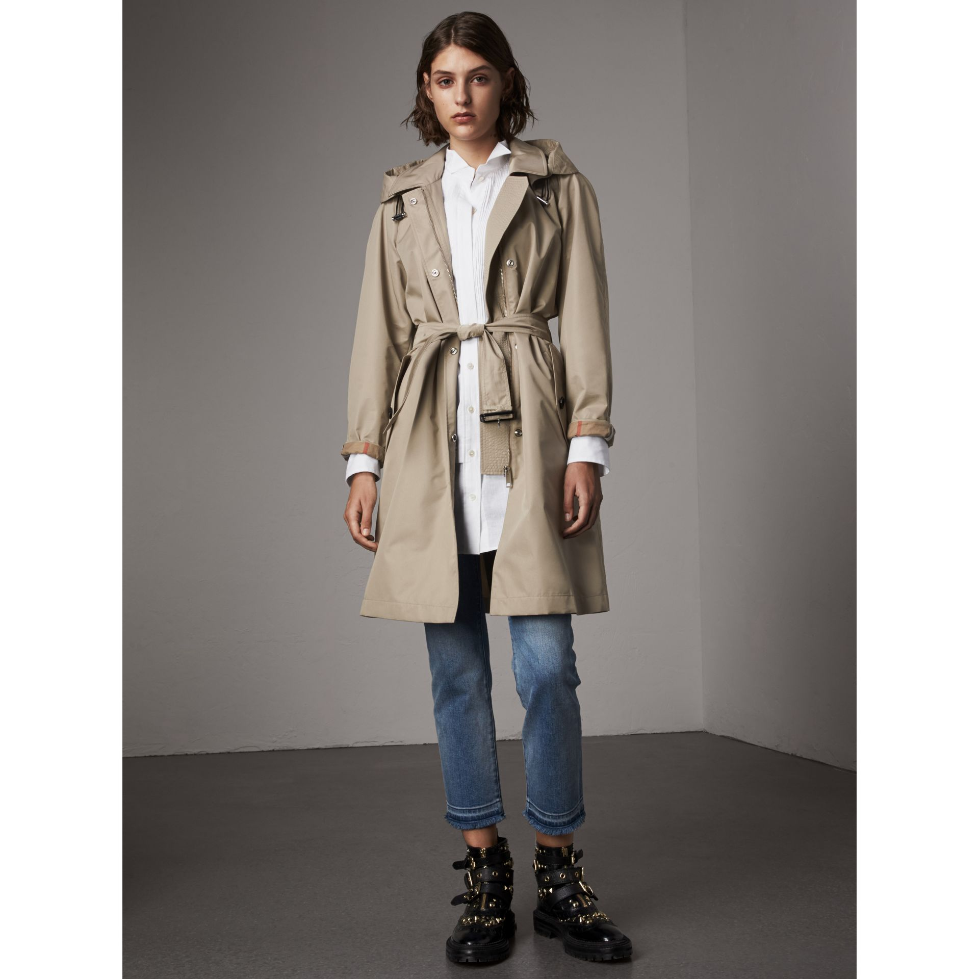 Detachable Hood Cotton Blend Car Coat in Stone - Women | Burberry - gallery image 1