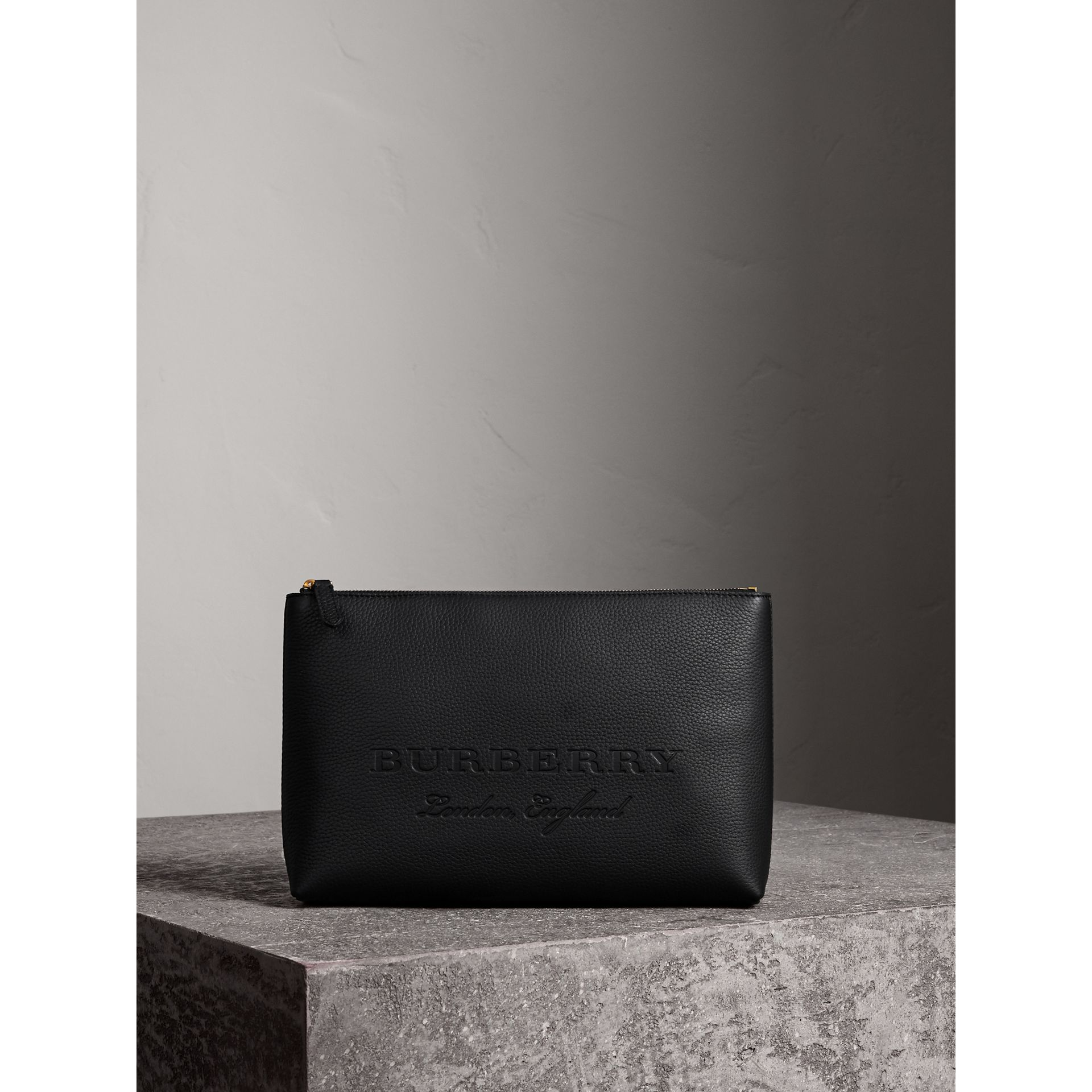 Large Embossed Leather Zip Pouch in Black - Men | Burberry Australia - gallery image 1