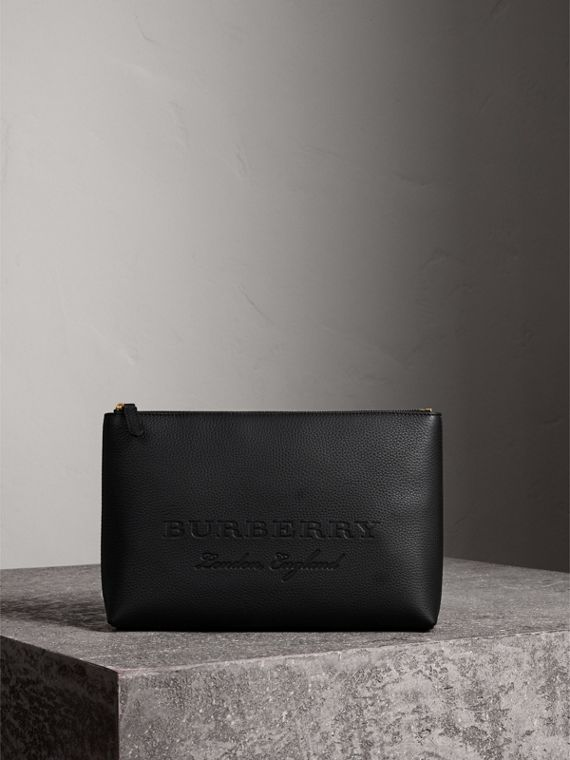 Large Embossed Leather Zip Pouch in Black