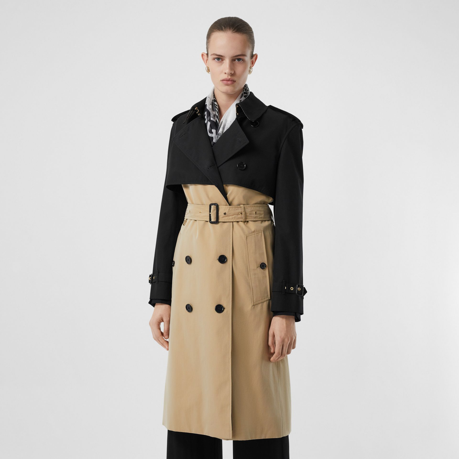 Two-tone Reconstructed Trench Coat in Black - Women | Burberry - gallery image 6