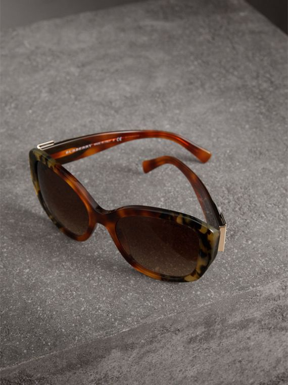 Buckle Detail Oversize Square Frame Sunglasses in Dark Ochre - Women | Burberry - cell image 2