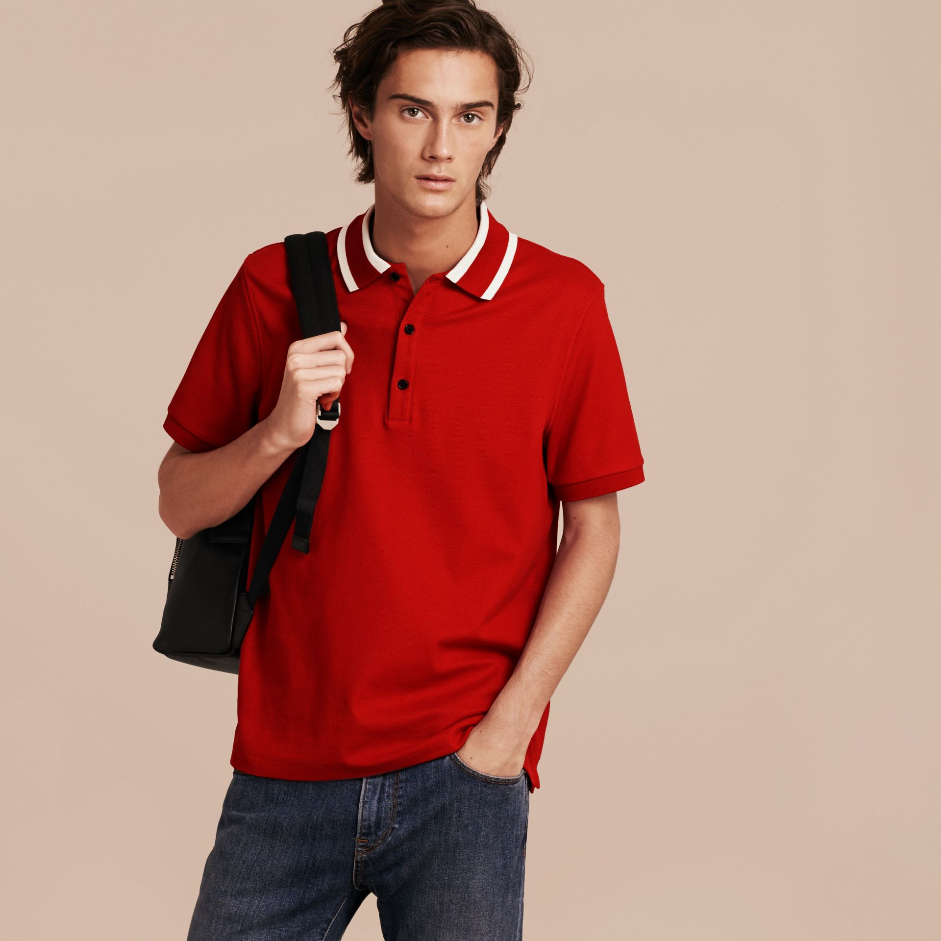 Striped Collar Cotton Piqué Polo Shirt Uniform Red - gallery image 6