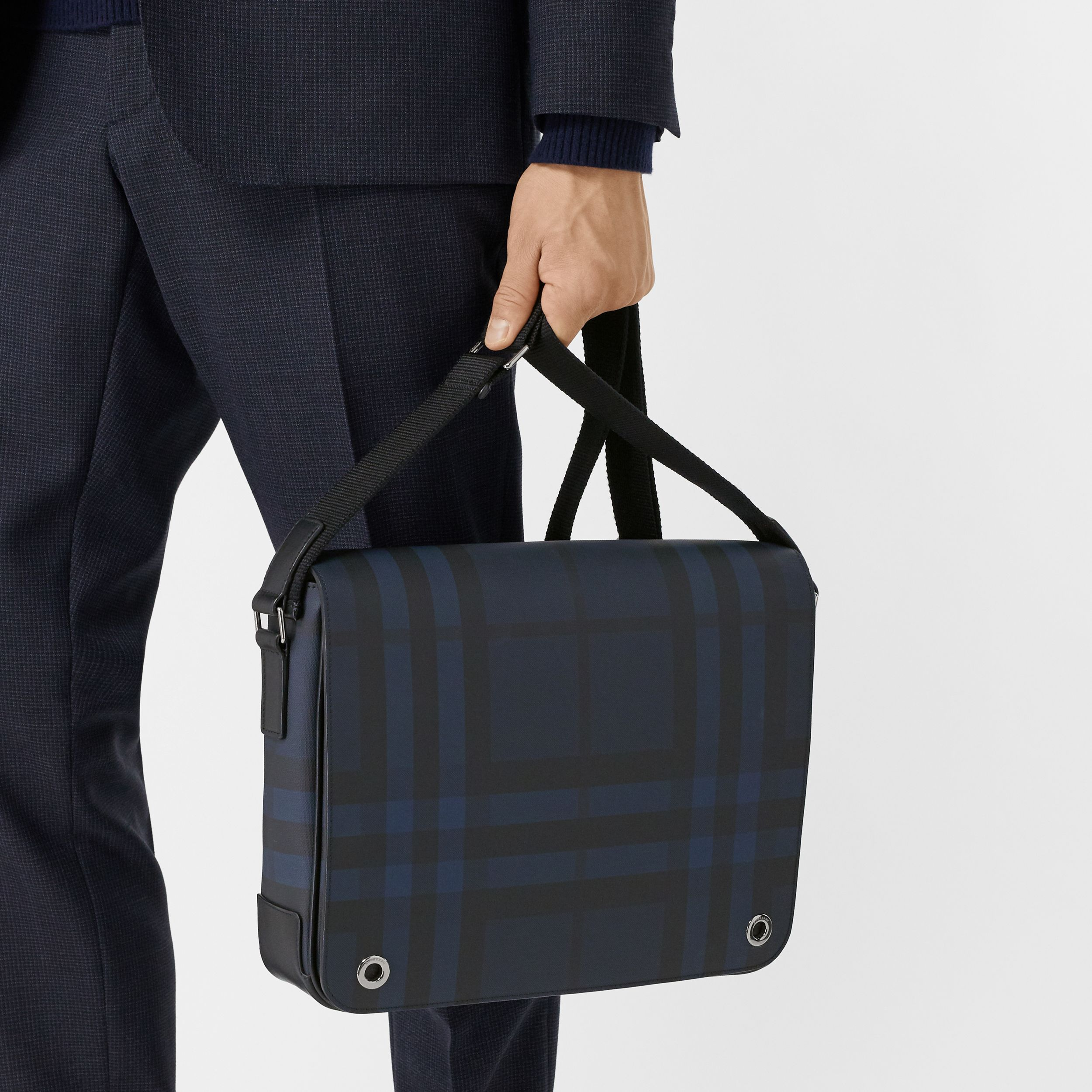 London Check and Leather Satchel in Navy - Men | Burberry - 3