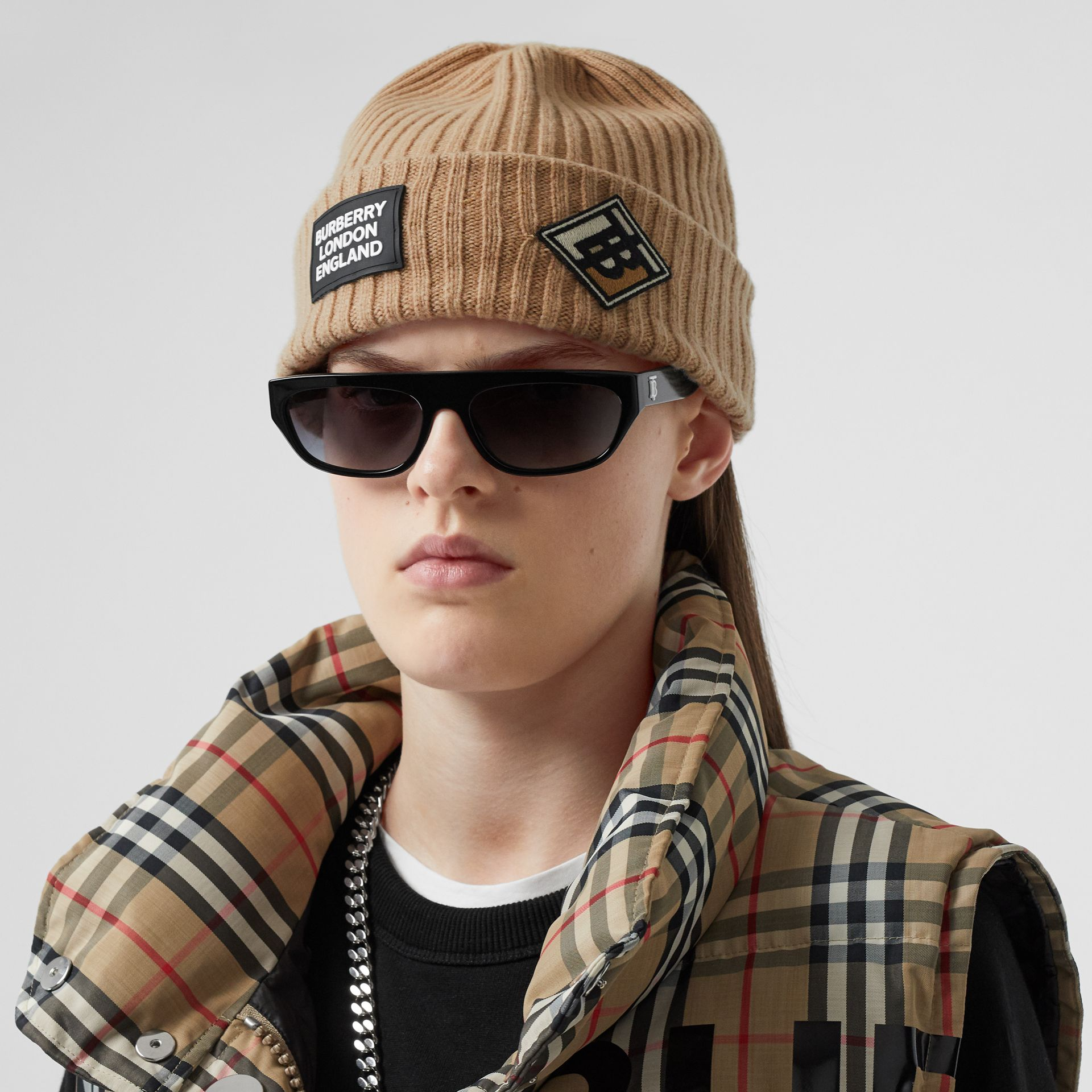 Logo Graphic Rib Knit Wool Beanie in Archive Beige | Burberry - gallery image 2