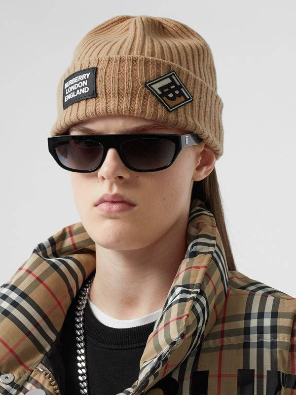 Logo Graphic Rib Knit Wool Beanie in Archive Beige | Burberry - cell image 2