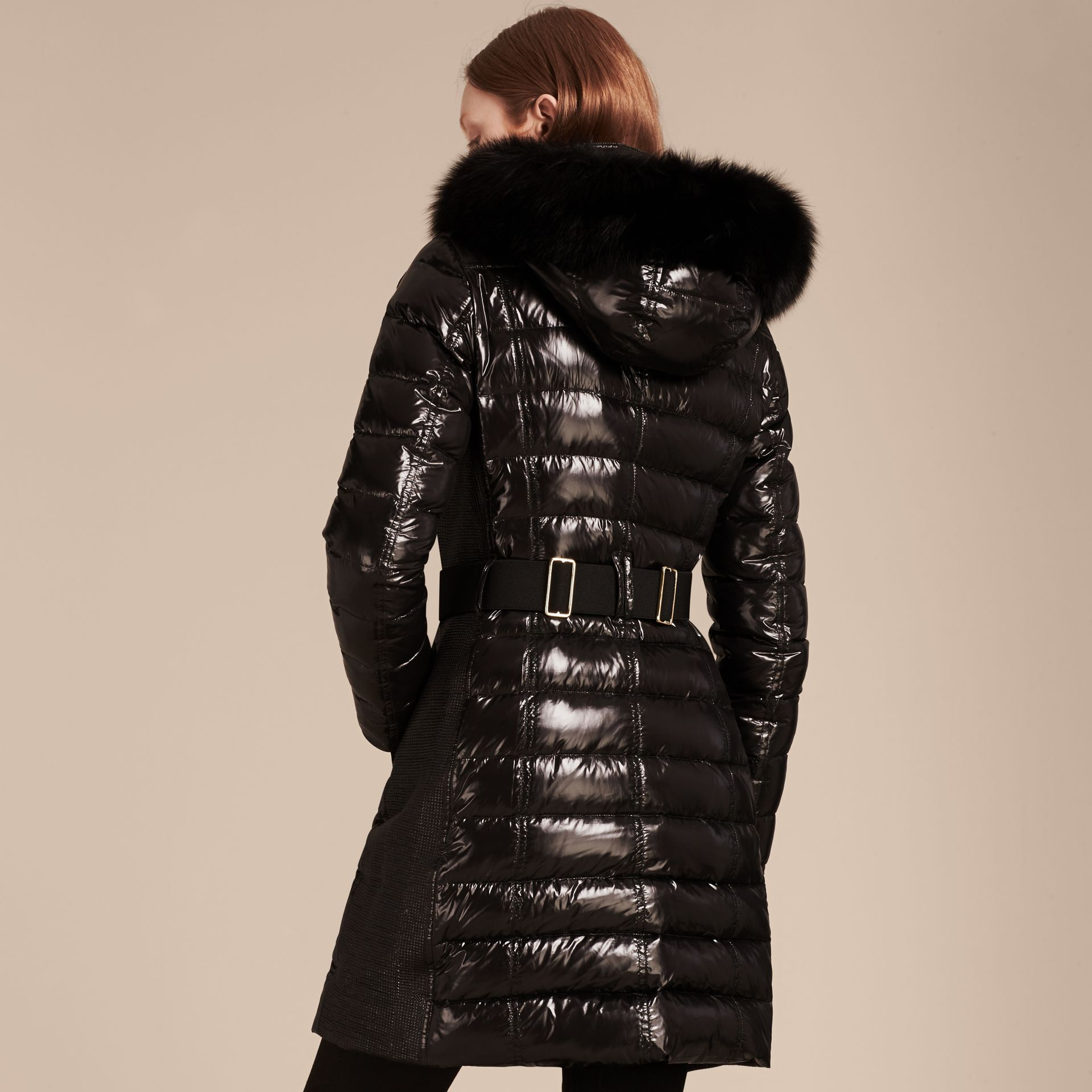 Down-Filled Coat with Detachable Fur-trimmed Hood in Black - gallery image 3